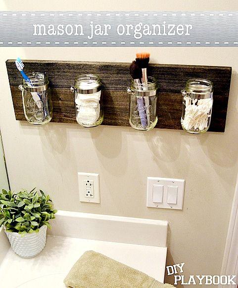 Jars mason jar bathroom and mason jars on pinterest for Bathroom jar ideas