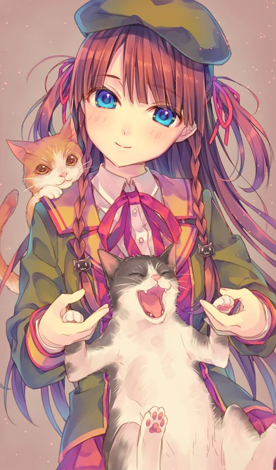 ✮ ANIME ART ✮ animals. . .animals with anime girl. . .cats. . .hair. . .braids. . .hat. . .beret. . .jacket. . .happy cat. . .cute. . .kawaii: