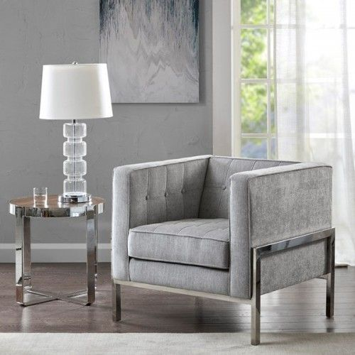 Grey Fabric Square Box Silver Leg Accent Chair Accent Chairs For
