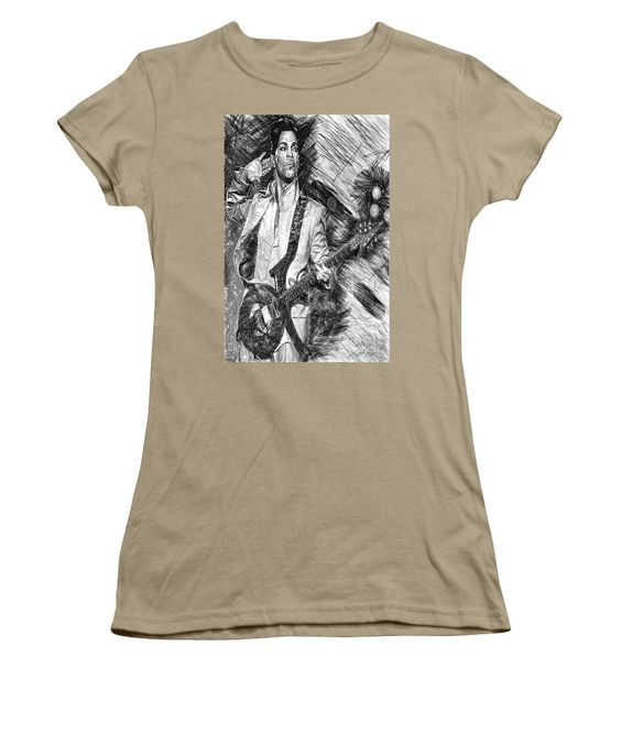 Women's T-Shirt (Junior Cut) - Prince - Tribute With Guitar In Black And White