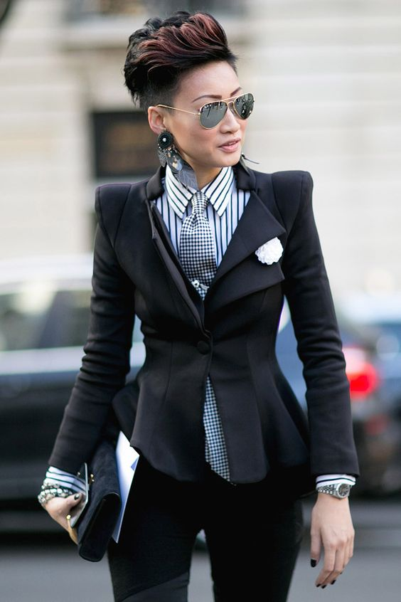 """relaxed female gentleman, probably biker- """"Menswear never looked so womanly in a fitted blazer,striped button down and tie...running around Paris."""""""