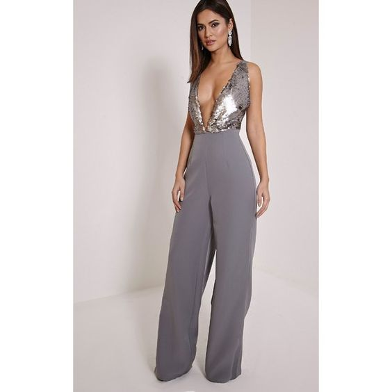 Darcey Silver Sequin Plunge Cross Back Jumpsuit-6 ($36) ❤ liked ...