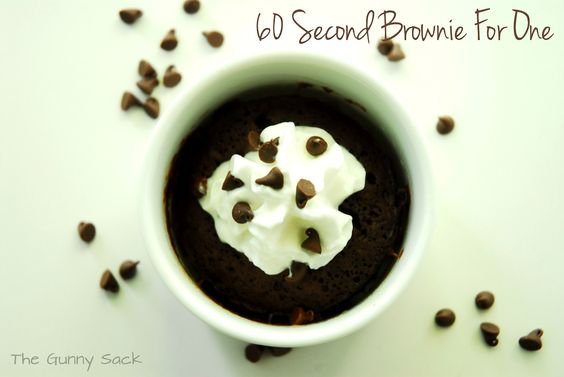 60 Second Brownie For One - I have GOT to try this! May have to try to put peanut butter chips in it though :) yum!