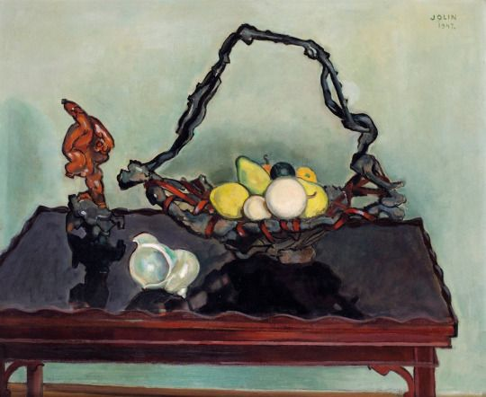 Einar Jolin (Swedish, 1890 1976), JAPANESE FRUIT BASKET AND SHELL, 1947.  Oil On Canvas 61 X 73 Cm | Swedish | Pinterest | Japanese, Canvases And Oil