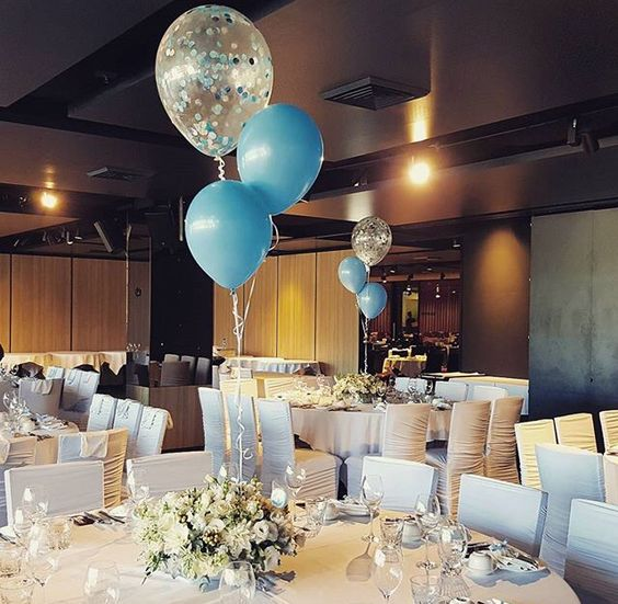 "Baby blue balloons with the big 16"" clear filled with blue and silver confetti. Perfect for this amazing baby shower!:"