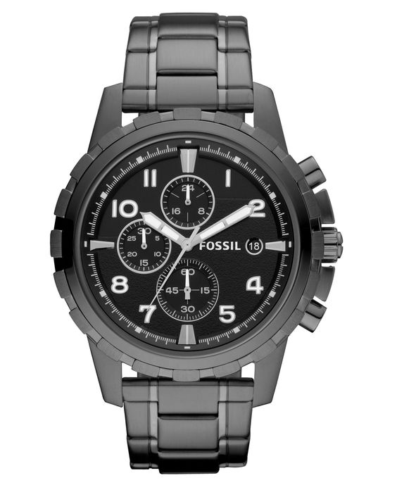 Fossil Men's Chronograph Dean Smoke Ion Plated Stainless Steel Bracelet Watch 45mm FS4721