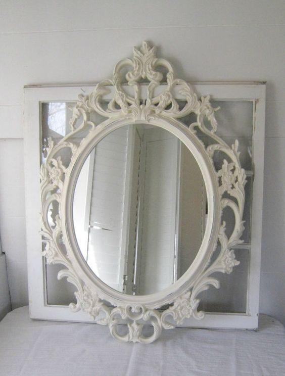 A beautiful large baroque ornate shabby chic antique white for Plastic baroque mirror