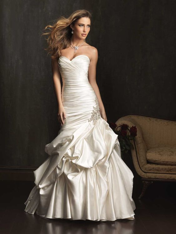 Sneak Peek: Allure 2013 Fall Collection A beautiful satin dropped waist gown, with light pickups.  www.thewhitedressbridal.com