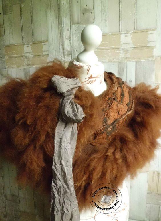 Kragen - Kragen aus Alpaka-Vlies handgefilzt Felt Fur braun - ein Designerstück von SweetDecor bei DaWanda