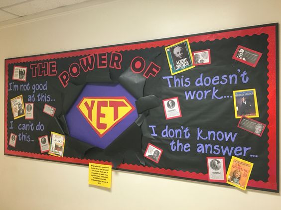Growth mindset bulletin board, featuring biographies from the library about famous people who persevered
