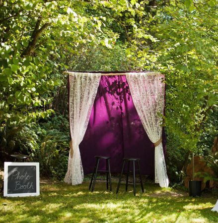 Craigslist find - Purple and lace wedding photo booth DIY