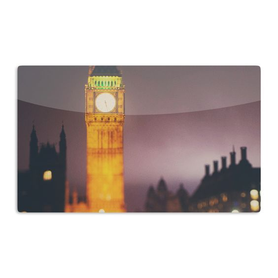 Kess InHouse Laura Evans 'Westminster at Night' Yellow Multicolor Artistic Magnet
