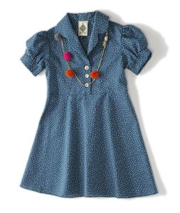 Image of party dress-turquoise dot