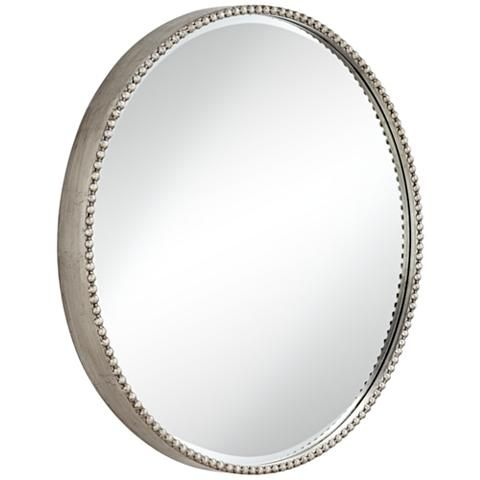Round Wall Mirror 35j49 Lamps Plus, Oval Silver Beaded Mirror