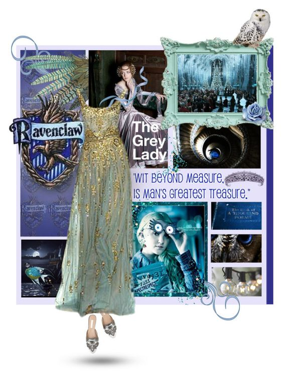 """""""Ravenclaw; The Grey Lady"""" by bykatiegirl ❤ liked on Polyvore featuring bleu, Crate and Barrel, Oscar de la Renta, Color Club and Luna"""