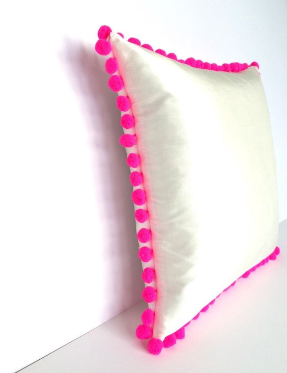 Ivory Silk Neon Pink Pom Pom Square Cotswold Cushion - Angle