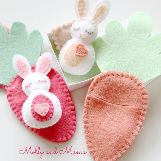 mini felt bunny toys