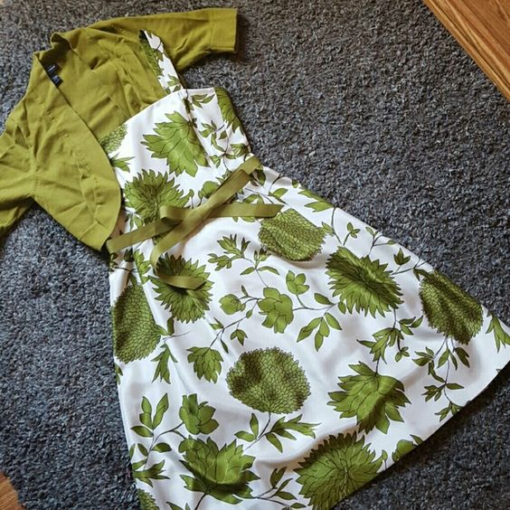 NWOT Dress & cardigan Never been worn. T-Length dress with matching cardigan and ribbon belt. Jessica Howard Dresses Asymmetrical