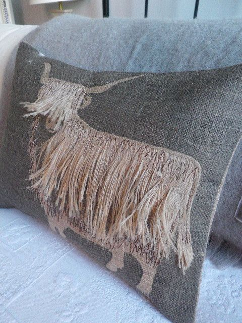 hand printed and appliqued shaggy highland cow by helkatdesign, $76.00