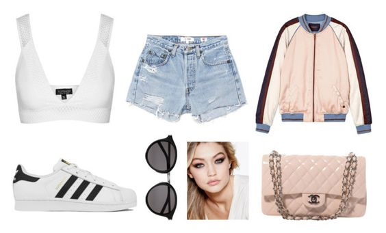 """""""Untitled #191"""" by zebra2003 ❤ liked on Polyvore featuring Topshop, RE/DONE, Maison Scotch, adidas, Chanel, Maybelline and Yves Saint Laurent"""