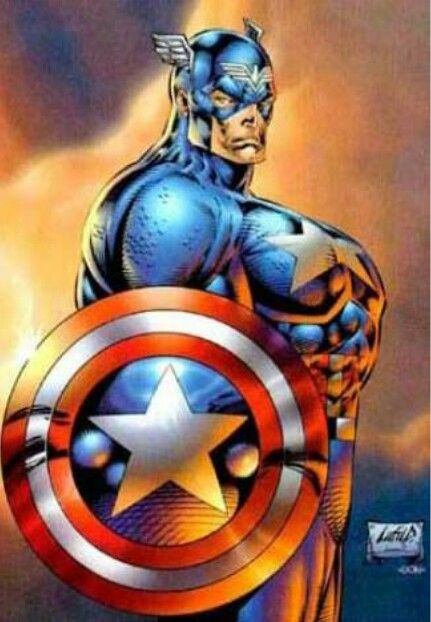 An image of Captain America from the side, holding his iconic shield. His chest is ridiculously disproportionate to his body. The image is a popular one for highlighting the questionable artistic skills of Rob Liefeld.