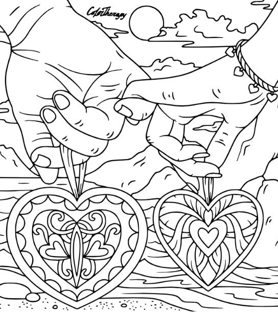 Love Hearts Valentine To Color With Color Therapy Try This App
