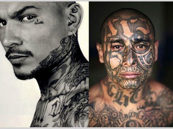 Mara salvatrucha tattoo 25 cool mexican mafia tattoos for Gang face tattoos