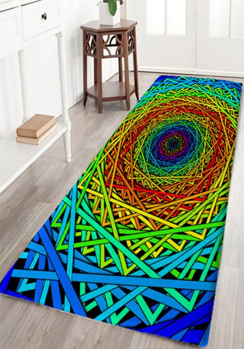 Abstract Psychedelic Geometric Skidproof Bath Rug Rugs On Carpet