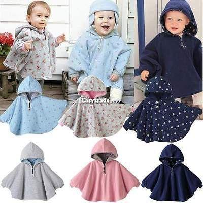 Bebê Crianças Infantil desgaste do dobro-lado capa com capuz casaco Poncho Manto Com Capuz outwear