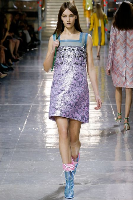 "Miu Miu "" Plastic Fantastic"" -Le parfait coupe-vent- for Fall/ 2014 Ready-To-Wear Paris-""I worked for one month on the right windbreaker that was not puffy-puffy. The perfect windbreaker—I had to get it right."" -Miuccia Prada  -Different and Fun catwalk with a lot of #Plastic #Brocade #transparency"