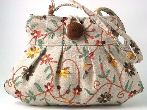 small tote bag handmade handbag w/ embroidery purse by daphnenen