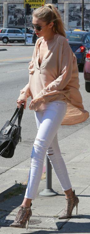 Who made Gigi Hadid's tan shirt dress?