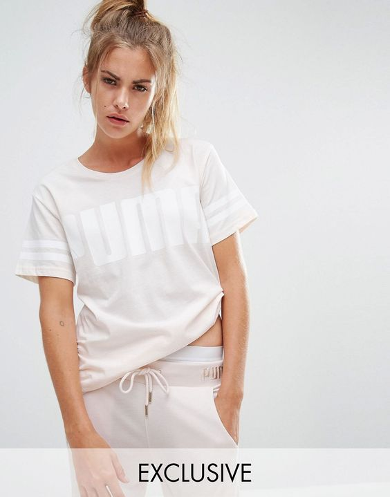 Puma Exclusive To ASOS Logo T-Shirt In Pale Pink