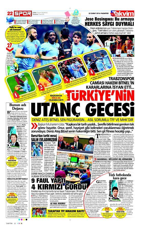 Sporun Manşetleri (22 Şubat 2016)