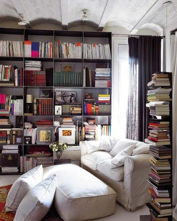 comfy couch and plenty of book space