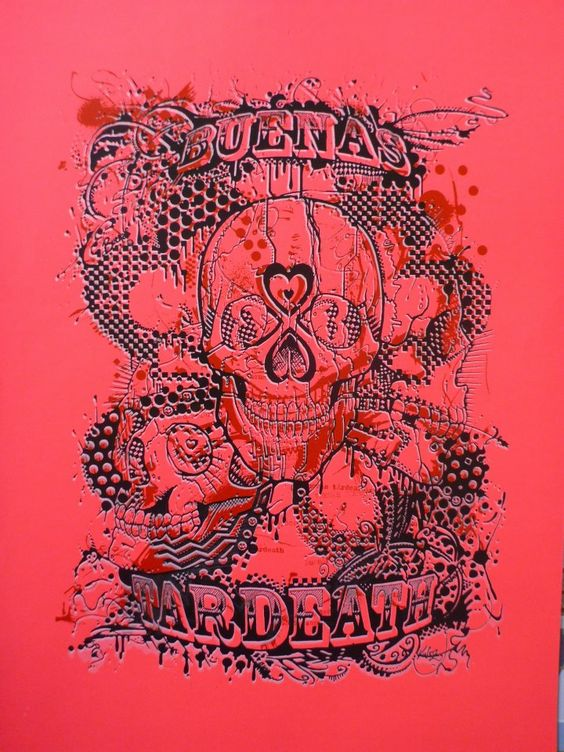 Buenastardeath, 2012/ Silkscreen Printing on unique fluro pink paper (3 colours) / A3 / Available for Sale