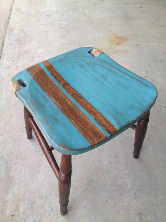 Nautical stool made from broken chair!