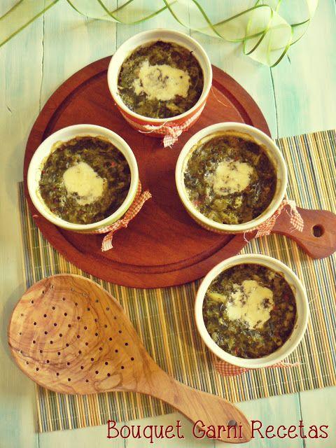 Bouquet Garni Recetas: Gratín de espinacas y brócoli con queso azul.// Spinach potato broccoli au gratin with blue cheese.