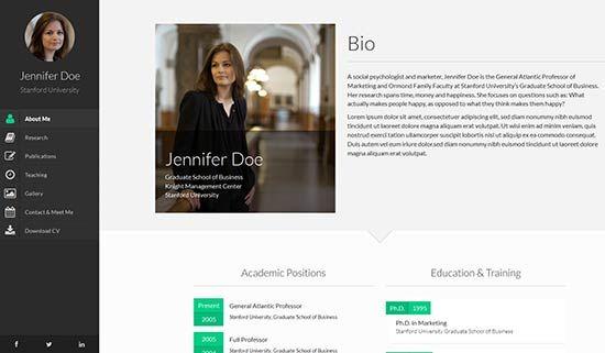 Faculty Academic Creative Resume Portofolio Responsive Cv Vcard Html Template Profile Website Resume Template Professional Profile