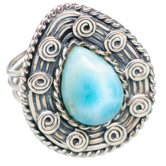 Rare Larimar 925 Sterling Silver Ring Size 8.75 RING739876