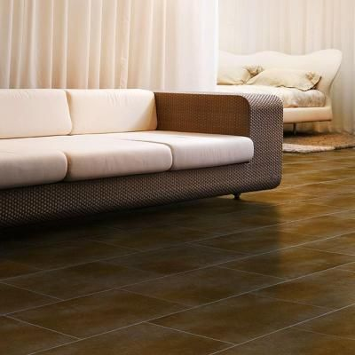 Trafficmaster ceramica 12 in. x 24 in. russet brown resilient ...