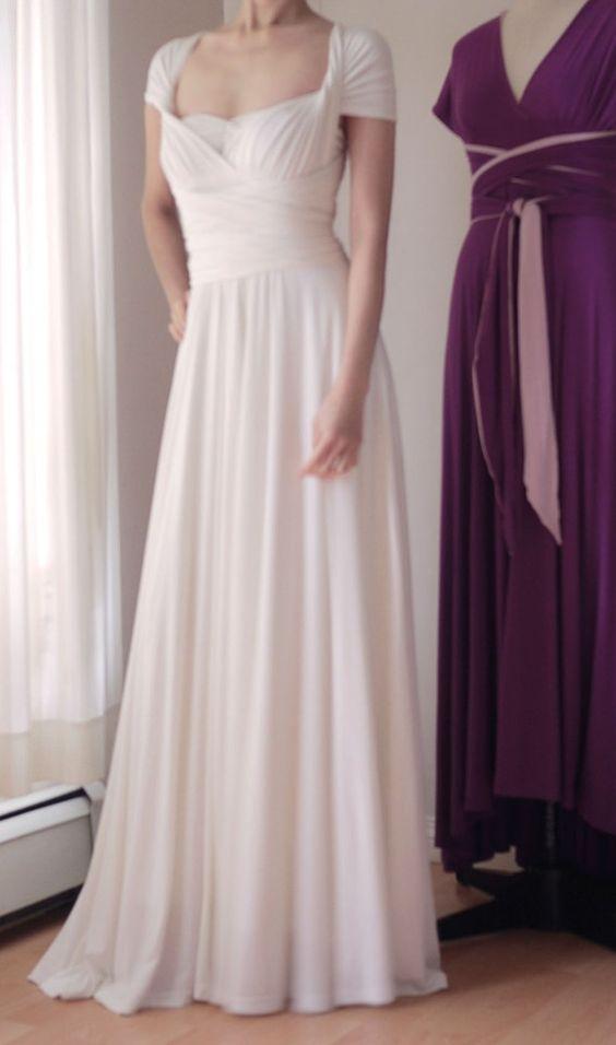 White Convertible Infinity Dress Floor Length Wedding