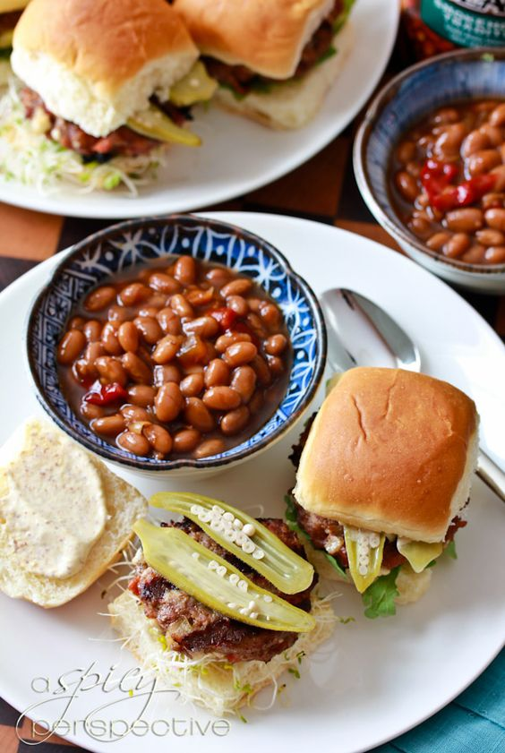 Simple Sliders with Andouille and Blue Cheese and all the right fixin's! via @Sommer | A Spicy Perspective