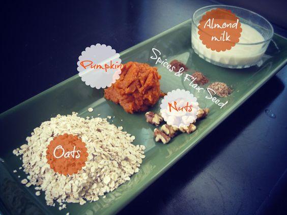Fall Pumpkin Oatmeal. Oats, pumpkin, nuts, spices, flax seed, and milk.