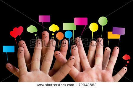 stock photo : Happy group of finger smileys with speech bubbles 2 (testimonials?)