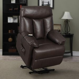 Recliner Lift Chair Leather Power Recline Lift Wall Hugger Chaise Leg Support   eBay