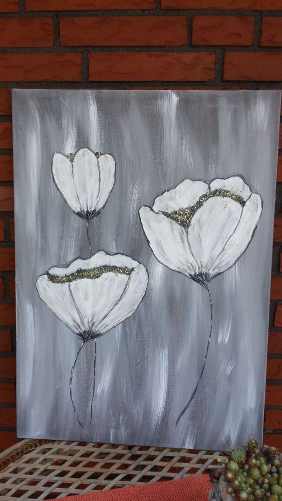 Acrylbild / Leinwand WEISSE BLUME Gr. 50 x 70 cm 100% HANDARBEIT