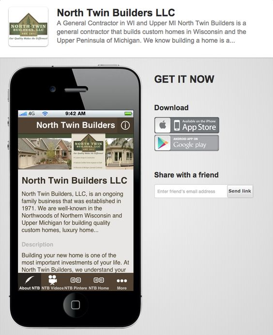 Have you tried our mobile app yet? Great way to follow our galleries and blog articles. ~ John  http://mobile.northtwinbuilders.com/landing/Desktop#.VcIoDZNVhBc
