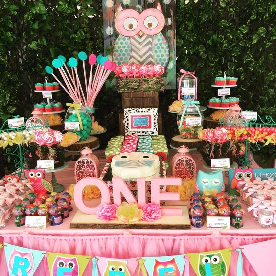 Amazing dessert table at a owl birthday party! See more party planning ideas at CatchMyParty.com!: