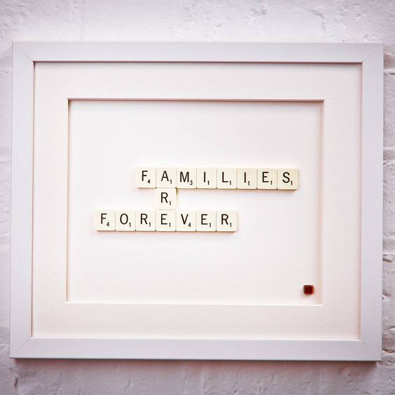 I've just found Families Are Forever Scrabble Art. A hand-made frame, bought to life by Scrabble letters. Each stunning scrabble art is made right here in my studio in Northants.. £39.00